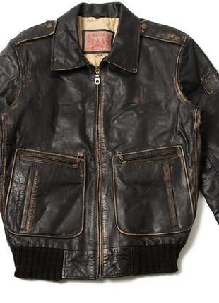 Vintage mustang брутальна мужская кожаная куртка levi's schott