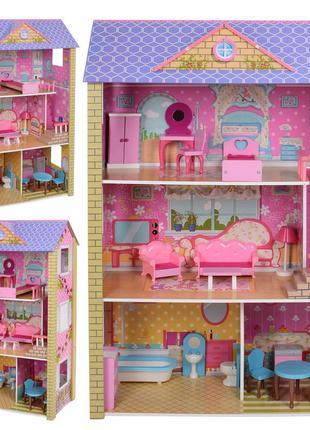Деревянный трехэтажный домик для кукол с мебелью 2009