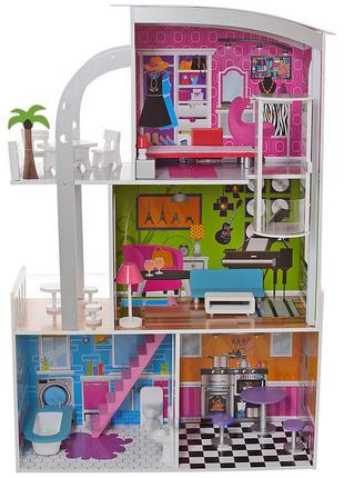 Деревянный трехэтажный домик для кукол с мебелью, лифтом 2012