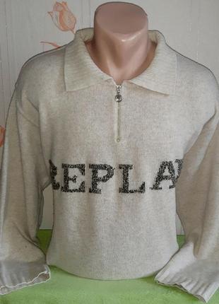 Шикарный шерстяной свитер ворот на молнии replay made in italy...