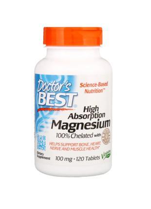Doctor´S Best, Хелатированный магний, 100 мг, 120 таблеток