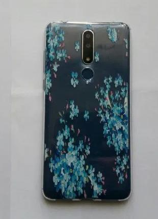 Чехол бампер Nokia 3.1+ plus декоративный синие цветы
