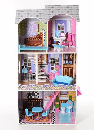 Деревянный трехэтажный домик для кукол с мебелью, лифтом 2412
