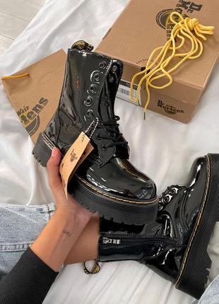 Шикарные женские ботинки dr. martens jadon black лак (на меху)