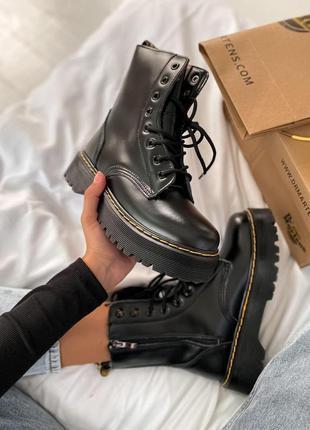Шикарные женские ботинки dr. martens jadon black (мех)