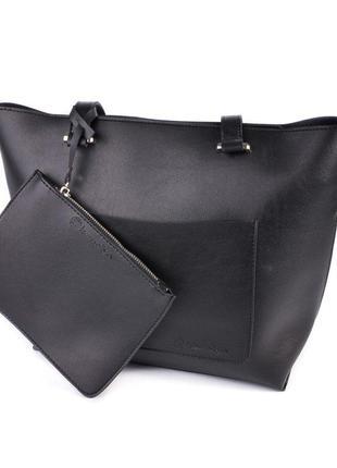 Черная женская сумка корзина на плечо с маленьким кошельком