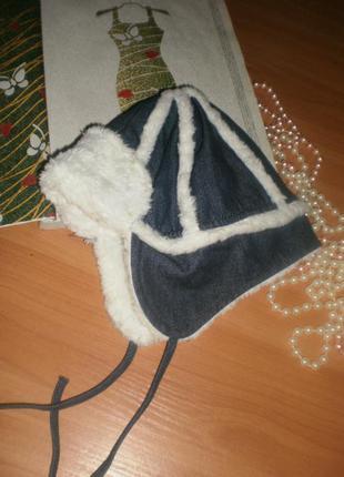Класна тепленька джинсово-мехова шапочка  (ушанка) для манюны