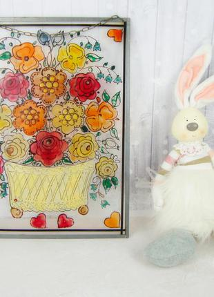 Винтажный витраж Цветы. Подвесное панно. Германия