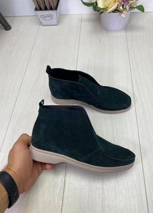 Женские ботинки зеленые на низком ходу натуральная замша kosa ...