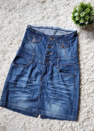 Юбка джинс с высокой талией