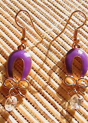 Серьги с фиолетовой эмалью.