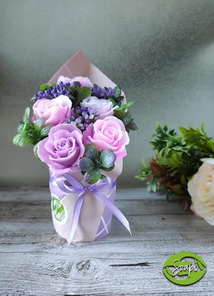 Мини букет из мыльных роз