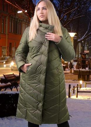 Зимняя женская куртка, длинная зимняя куртка большой размер