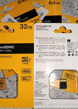 Карта памяти Kodak Netac SanDisk 32 64 128 GB 10класс micro SD U3