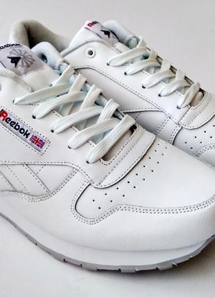 Кожаные кроссовки Reebok classic 41-46 размеры, белые кроссовки