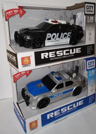 Полицейская машина 2-вида, свет, звук, открывается багажник.