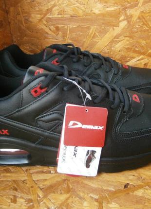 Кроссовки черные мужские баталы натуральная кожа Demax