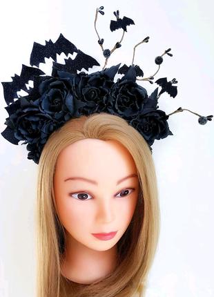 Обруч ободок для волос на Хэллоуин Хеллоуин с цветами
