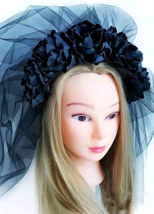 Обруч ободок для волос с цветами и фатой на Хэллоуин Хеллоуин