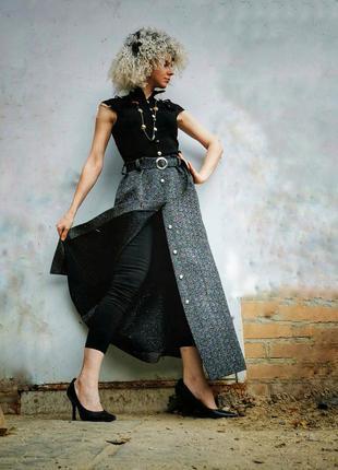 Винтажная юбка с люрексом поясом длинная макси трикотажная три...