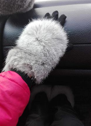Перчатки деми мех кролик