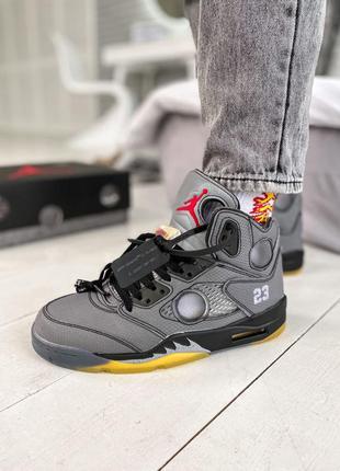 Jordan 5 retro  x off-white мужские кроссовки наложенный платё...