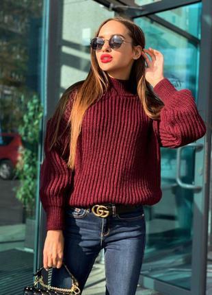 Объемный свитер крупной вязки, 5 цветов