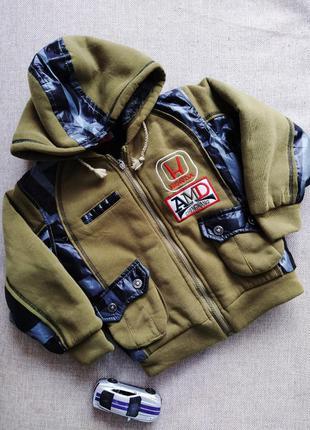 Куртка зима теплая зимняя бомбер батник на меху 116 122 мальчи...