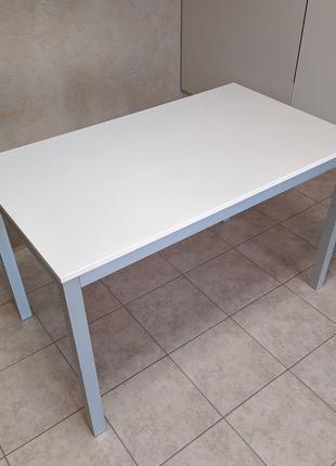 Стол белый ДСП + алюминий, кухонный, обеденный, офисный 70*120 см