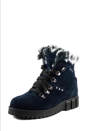Ботинки зимние женские mida (темно-синие)