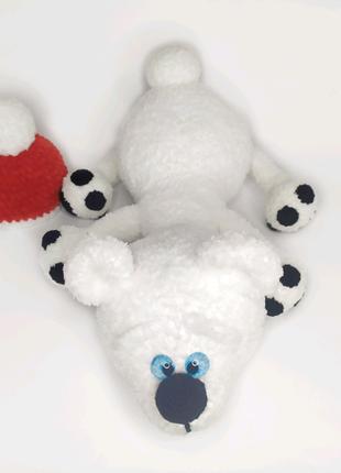 Вязаная мягкая игрушка плюшевый белый мишка, подарок на новый год