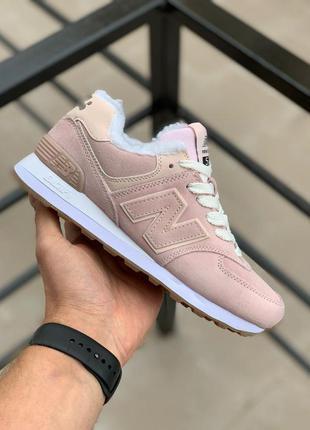 New balance 574 pink fur женские замшевые зимние кроссовки...