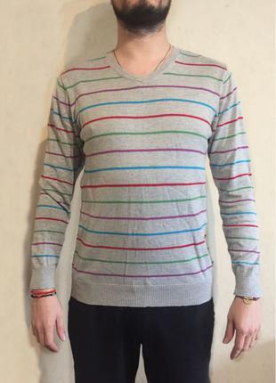 Джемпер мужской в разноцветную полоску