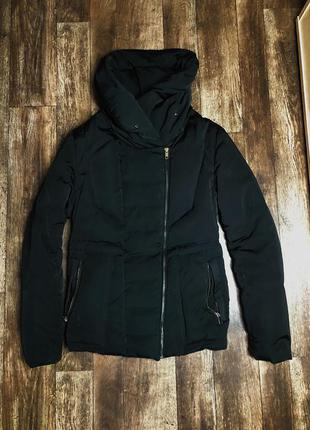 Пуховик zara женский чёрный курточка зимняя на пуху