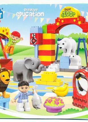 Конструктор для малышей JDLT 5093 Зоопарк 72 крупные детали