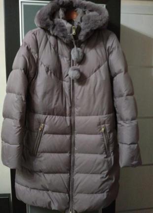 Пуховик, зимнее пальто с капюшоном из кролика