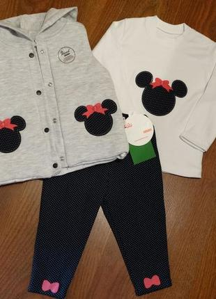 Набор, костюм, комплект (жилетка, кофточка, штанишки)