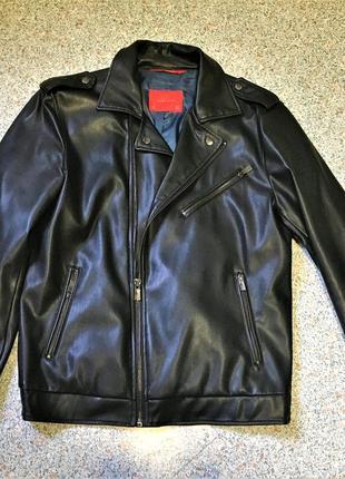 Стильная мужская куртка косуха из экокожи zara