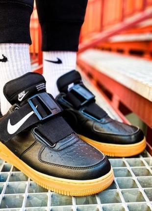 Nike air force 1 black utility gum кроссовки мужские найк