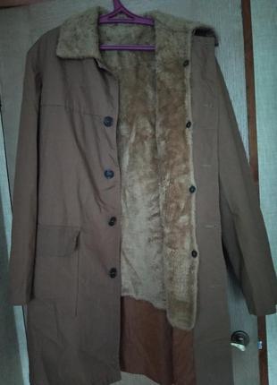 Теплая мужская куртка/пальто/плащ/ветровка с меховой подстежко...