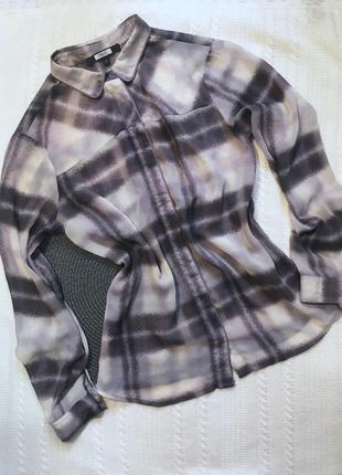 Блуза рубашка клетчатая тонкая блузка в клетку