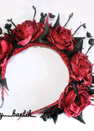 Обруч ободок для волос с цветами на хэллоуин хеллоуин хелловін