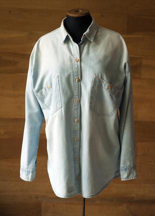 Светло голубая джинсовая рубашка женская оверсайз zara, размер...
