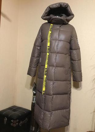 🔥шикарное🔥длинное зимнее дутое пальто пуховик зима