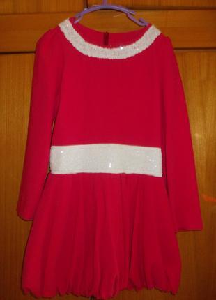 Платье детское бардовое на 8-10 лет подъюбник