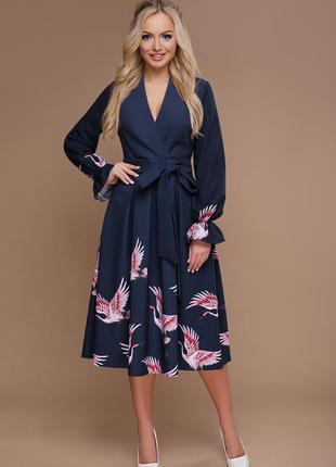 Синее платье с пышной юбкой