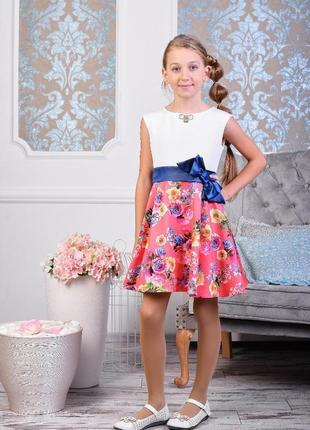 Нарядное детское платье с поясом-бантом