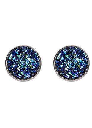Стальные серьги-гвоздики с кристаллами