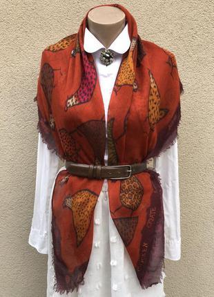 Винтаж,красивый,большой платок,косынка в курочки,шаль,helen le...