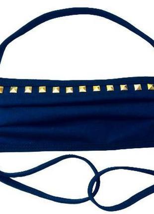 Темно синяя многоразовая трикотажная маска с квадратными золот...